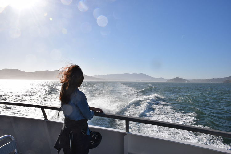 enjoying cruise in the summer Cruise Only Women One Woman Only One Person Adults Only Adult People Sea Women Water Outdoors Day Sky Nature Standing Young Women Adventure Beauty In Nature Clear Sky California Dreamin The Traveler - 2018 EyeEm Awards My Best Travel Photo