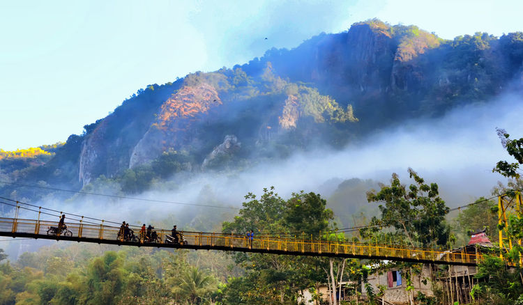 yellow bridge Architecture Bridge - Man Made Structure Canon Day EOS Lifestyles Men Mountain Nature Outdoors People Real People Tree
