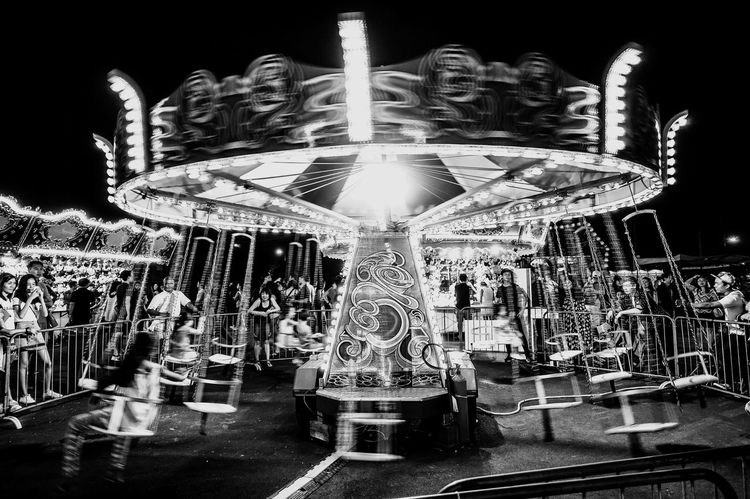 Swing carousel Blackandwhite Light And Shadow Photography Singapore SONYrx100m3 Sony Gf_singapore Night Bnw Carnival Showcase March Singaporeinsiders Fun Photographyinmotion