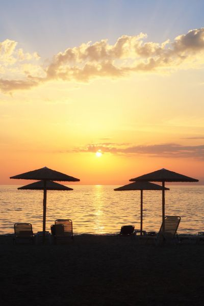 Beautiful sunset over Thassos Sunset Sky Water Sea Scenics - Nature Beauty In Nature Cloud - Sky Tranquil Scene Tranquility Orange Color Beach Land Silhouette Nature Idyllic Horizon Horizon Over Water Sun No People