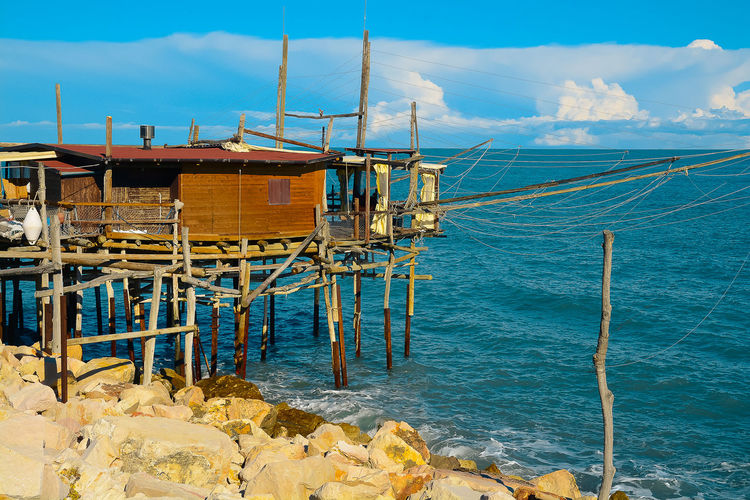 Architecture Beauty In Nature Built Structure Day Nature No People Outdoors Scenics Sea Sky Trabocchi Coast Trabocco Tranquility Water Wood - Material