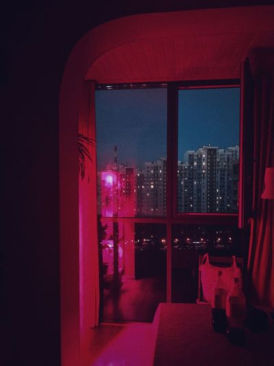 Red Indoors  Window Architecture Built Structure No People Night