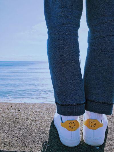 Happy weekend Ocean Fashion Sneaker Kicks Smile Wink Surf Sunny Blue Yellow Happy Sea