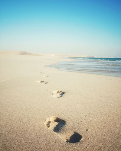 Sandy Beach Bluesky Steps Beach Land Beach Sand Sea Water Sky FootPrint Nature Scenics - Nature Day Clear Sky Horizon Over Water Track - Imprint
