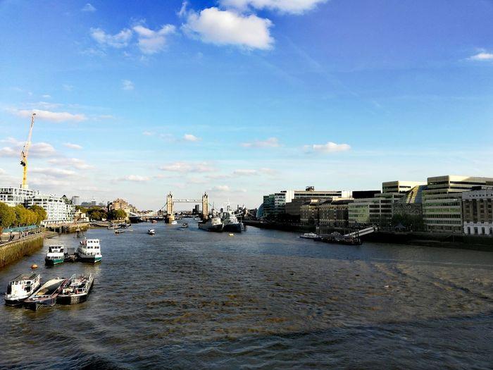 London London Bridge Weather Sunny Autumn City Cityscape Water Nautical Vessel Harbor Sailing Ship Sea Urban Skyline Sky Architecture Boat