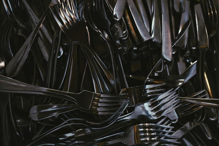 Abundance Fork Forks Backgrounds Full Frame Close-up Abstract Backgrounds Brushed Metal Abstract