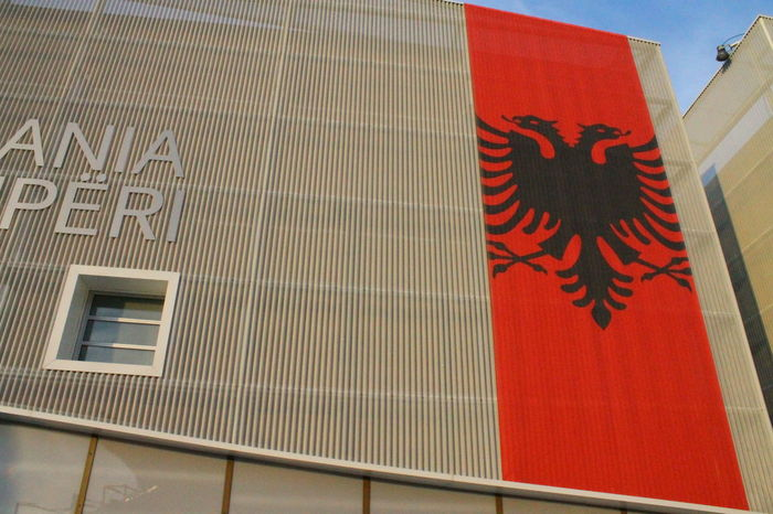 Albania Architecture Building Exterior Close-up Day Flag Indoors  Low Angle View No People Shqiperia Text