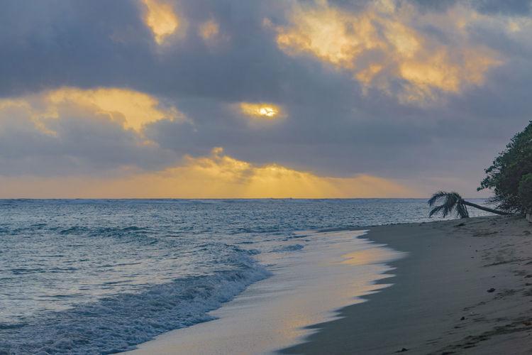 Calm Hawaii Oahu Orange Sky Palm Quiet Serenity Tranquility Tropical Paradise Tropics Beach Calm Sea Cloud - Sky Fiji Ocean Sand Serene Sunrise Sunset Tranquil Scene Tropical Tropical Sunrise Tropical Sunset Waves Waves Lapping