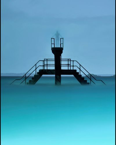 Ghost Diver 2 Blue Tranquil Scene Tranquility Sea Sky Scenics Remote Nature Outdoors Day Beauty In Nature No People Ghost Dive Diving Board