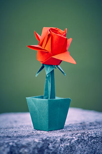 Close-up Day Green Color Indoors  No People Origami Art Origami In Natur Paper Rose Red Rose - Flower Rose🌹 Table The Still Life Photographer - 2018 EyeEm Awards