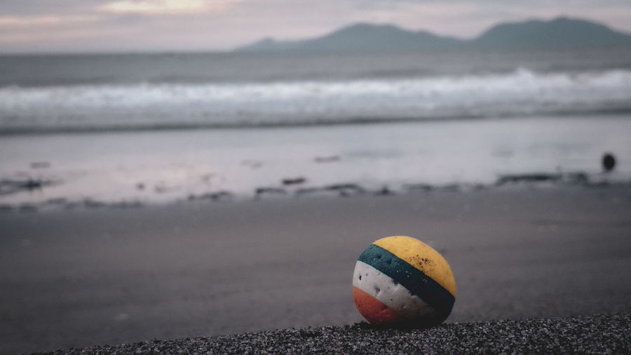 Close-up of ball on beach