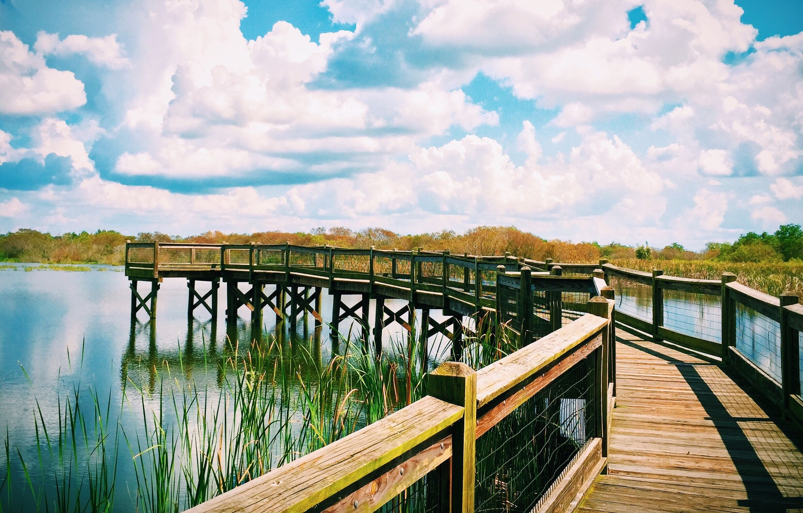 railing, sky, water, cloud - sky, tranquility, tranquil scene, pier, wood - material, lake, scenics, boardwalk, beauty in nature, nature, cloud, built structure, cloudy, footbridge, wood, idyllic, tree