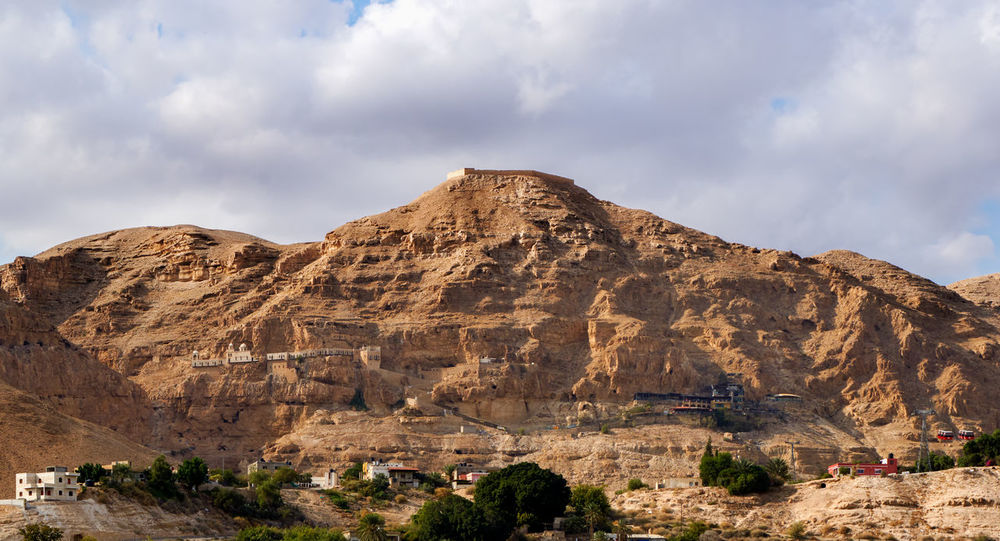 The Mount of Temptation in Jericho, Palestine. It contains the monastery and the connecting cable car and its station. Jericho is the oldest town on earth Christmas Devil Greek History Jess Judean Desert Landscape Mountain No People Orthodox Outdoors Travel Destinations