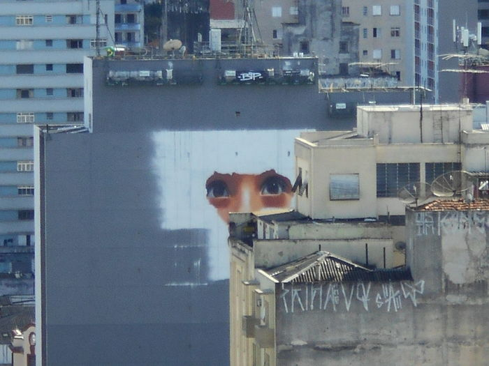 BLINK - If you blink you might miss the action. A City That Doesn't Sleep Always Watching Avenida Rio Branco Awake In The Middle Of Nowhere Beauty Is All Around Just Look. Beauty Is In The Eye Of The Beholder Building Art Can You See Me? Peek-a-boo I See You Peeking Through Susan A. Case Sabir Unretouched Photography A City That Never Sleeps Always Watch Your Back Building Art Black And White Building Artwork Citiscape  City Art Downtown São Paulo Graffiti Art High Angle View If You Blink You Might Miss Me Looking Streetscape Wall Painting/graffiti