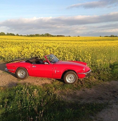 Old Car Triumph Spitfire Red Transportation Mode Of Transport Sky Field Day Nature Yellow Cloud - Sky Agriculture Landscape Land Vehicle Scenics No People