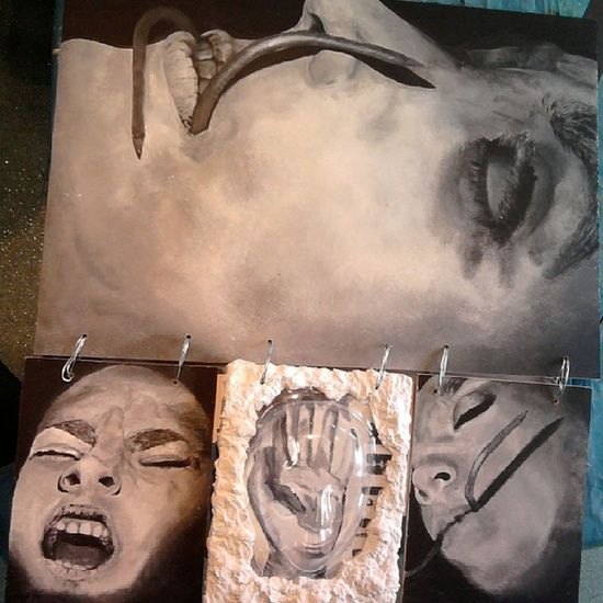 My a-level art final piece. What was I thinking. Disturbed Needhelp Torture Portrait monochrome art painting