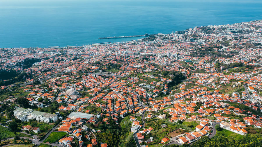 Aerial panoramic view of funchal city from monte, madeira island