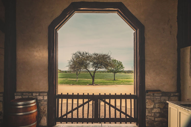Room with a view Barn Indoors  Rural Scene Rustic Style Rustic Tree Travel Framed Barrel Frame Door Plant Window Indoors  Architecture Nature No People Built Structure Sky Day Entrance Absence Wood - Material Water Table Beauty In Nature Glass - Material