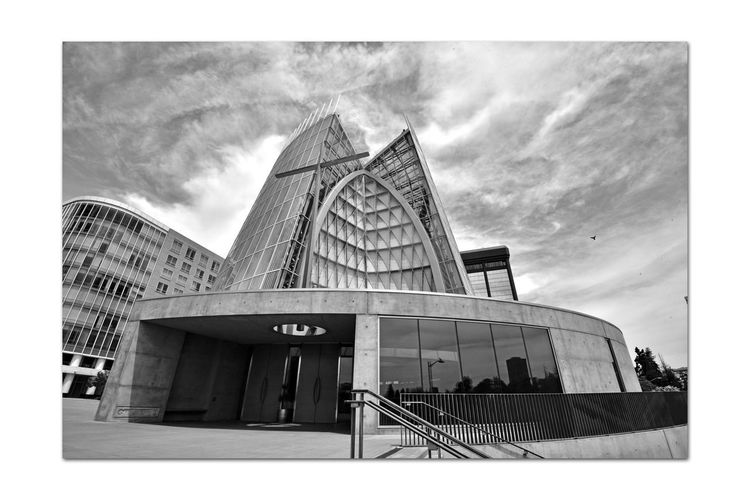 Cathedral of Christ the Light 10 Oakland, Ca. Cathedral Of Christ The Light Roman Catholic Church Architecture Modern Style: Late 20th Century Abstract Architecture_collection Architectural Detail Ceramic Frit,glass, Steel, Concrete Former Parrish Home, St. Francis De Sales Cathedral Destroyed In The 1989 Loma Prieta Earthquake New Church Dedicated September 2008 Monochrome_Photography Monochrome Abstract Black & White Black & White Photography Black And White Black And White Collection  Event Center 5,100 Sq.ft.