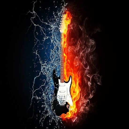 Music Guitar Burning Fire Water Contradictory