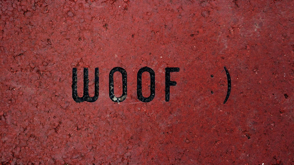 Woof - Humorous Wallpaper Absurdity Comedic Funny Graphics Design Humor Joke Quirky Red Texture And Surfaces Textures And Surfaces Whimsy Amusing Backdrop Background Banner Brick Design Element Droll Etched Hillarious Humerous Laughable Texture Whimsical Witty