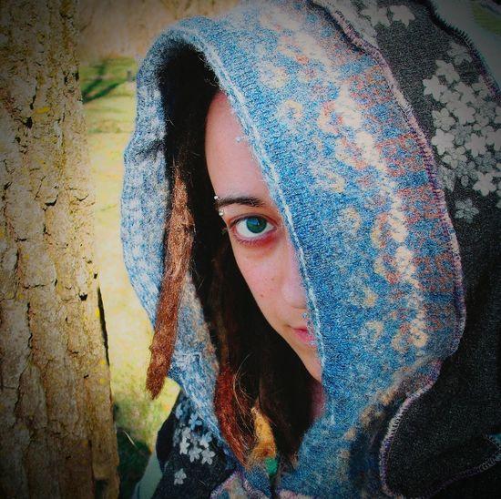 The Portraitist - 2016 EyeEm Awards Portrait Of A Woman Self Portrait Alternative TLPhoto Piercings Wool Sweater Hood Peek Dreadlocks Natural Light Portrait Colour Of Life