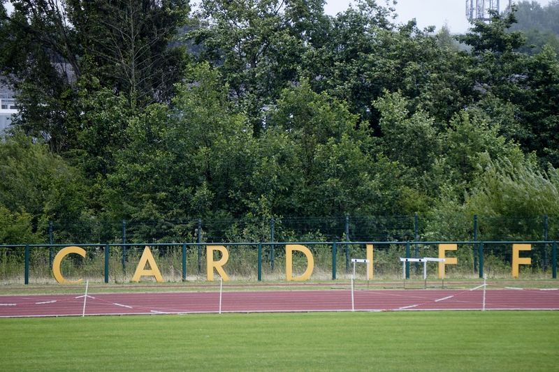 7004 Athletic Athletics Cardiff Day Grass Grass Grass Area Green Color Growth Letters Nature No People Outdoors Running Track Sky Sport Track Tree Tree Tree_collection  Trees Wales Word