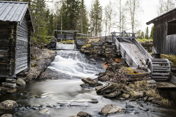 Water Tree Outdoors Nature Forest Watermill Sawmill Old Buildings Sweden Rocks In Water Waterfall Photography Waterfall