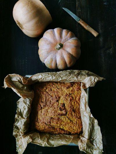 High angle view of pumpkin on table