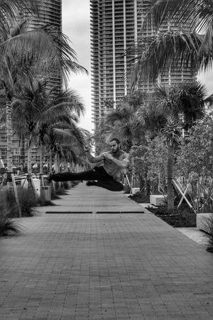 Miami Karate Jump Highjumpkick Jumping Kick Blackandwhite Malemodel  Blackandwhite Photography Fitness Fitness Training Trees Adventure Club Visual Creativity