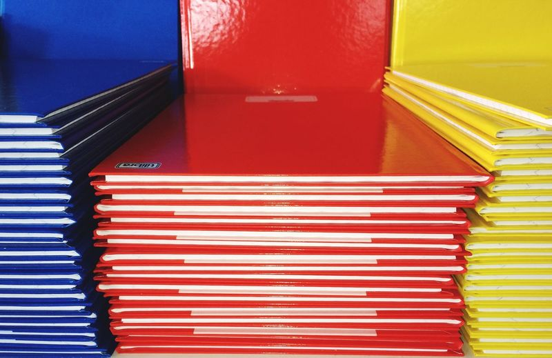 Close-up view of red blinds