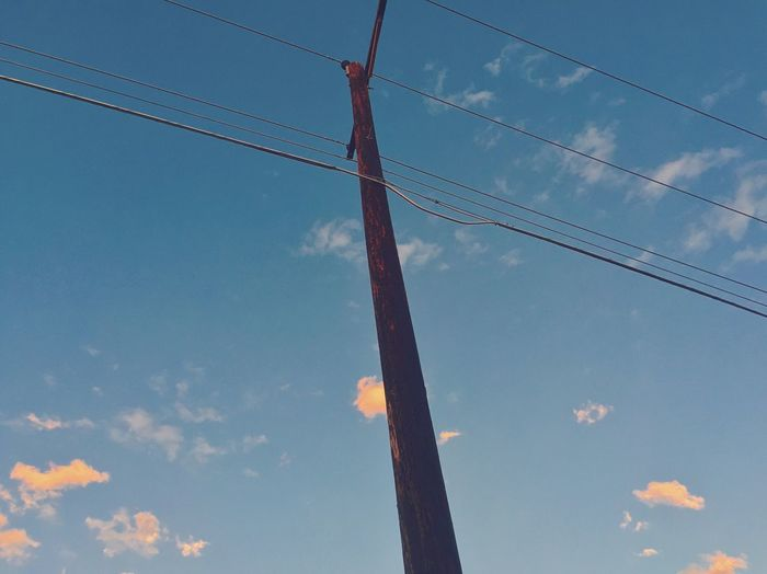 Low Angle View Power Line  Sky Day Telephone Line Blue Sky Albuquerque Southwest  New Mexico Connection Outdoors Photographyislife Photographylovers Photography Themes Tranquility Scenics Suburbs Suburban Landscape Tranquil Scene Cloud - Sky Photography Landofenchantment No People The Way Forward Sunset