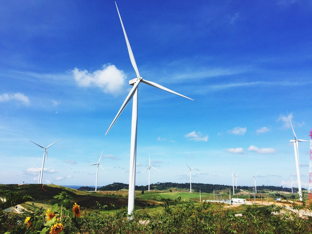 wind turbine, wind power, environmental conservation, alternative energy, fuel and power generation, renewable energy, windmill, industrial windmill, sky, nature, day, field, rural scene, outdoors, no people, blue, technology, traditional windmill, grass, landscape, beauty in nature