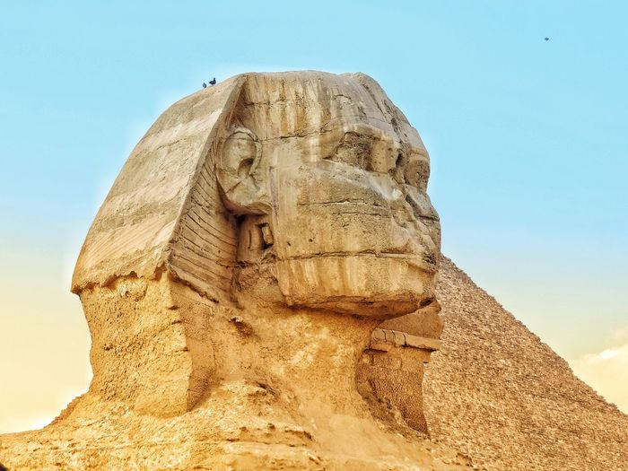 Great sphinx of giza against clear sky