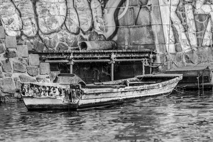 Abandoned Architecture Built Structure Damaged Day Mode Of Transportation Nature Nautical Vessel No People Old Outdoors Reflection Sailing Sea Transportation Wall - Building Feature Water Waterfront Weathered