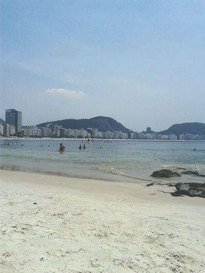 Seascape Sea Copacabana Rio De Janeiro Beach Mar Praia Playa Copacabana Beach Sunny Day Summer Brasil Brazil