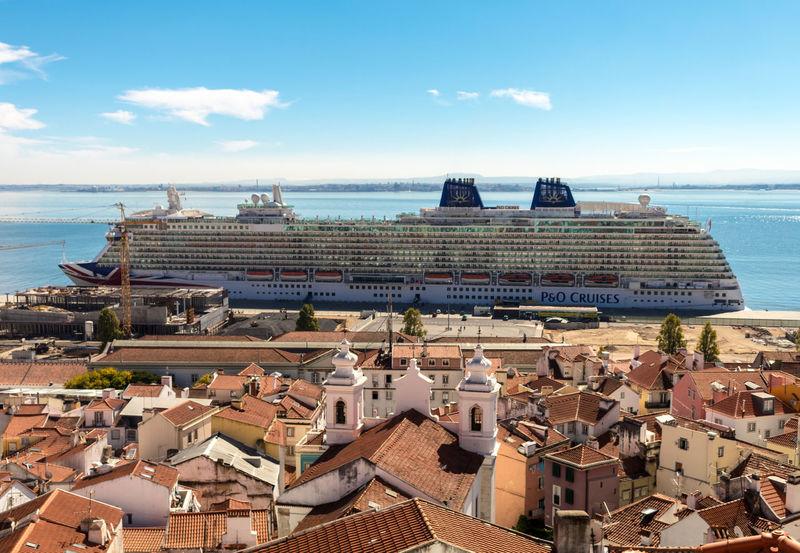 Cruise Ship Eye4photography  EyeEm Best Shots EyeEmBestPics Lisboa River Rooftops Sky And Clouds