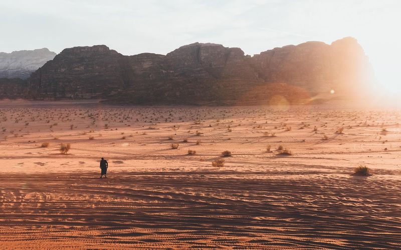 Wadi Rum Desert Adventure Desert Wadi Rum Jordan EyeEm Best Shots EyeEm Nature Lover EyeEmNewHere Water Sky Real People One Person Nature Beauty In Nature Land Sunset Silhouette Scenics - Nature