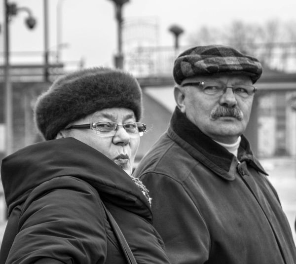 Together. Two People Portrait Senior Men Close-up People Close Portrait History Monochrome Photography Time Love Scene Man And Woman Couple Couple - Relationship