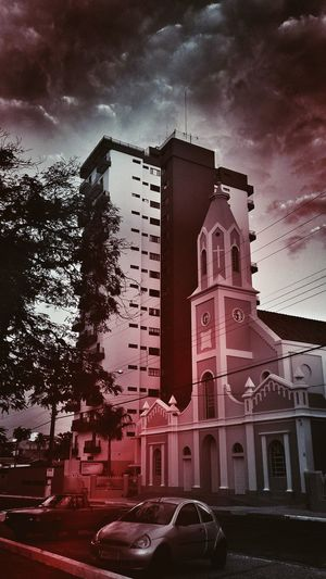 EyeEm Best Edits Taking Photos Check This Out Churchporn Building Trees Cars Street Photography Black And White Red Tones Touch Of Color Red Color Sky And Clouds Dramatic Sky EyeEm Gallery Edited My Way What You Think? Comment Today's Hot Look