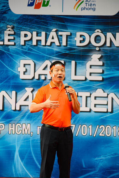 HO CHI MINH CITY, VIET NAM, JANUARY, 2018: Truong Gia Binh, co-ofounder and chairman of FPT Corp., speaks during an 30 years anniversary of FPT Corp. 30 Years Event FPT Group, Ho Chi Minh City The Corporation For Financing And Promoting Technology Vietnam Vietnamese Anniversary Bình Editorial  Fpt Saigon Truong Gia Binh