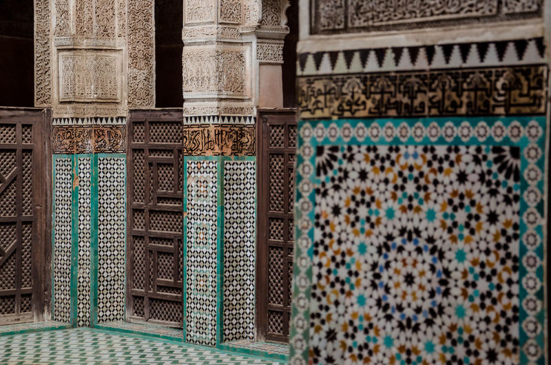 Meknès Architectural Column Architecture Art And Craft Building Building Exterior Built Structure Craft Day Design Floral Pattern History No People Ornate Pattern Place Of Worship The Past Tile Travel Destinations Wall - Building Feature