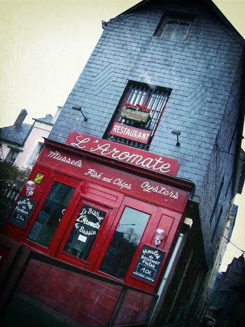 Restaurant L'Aromate - Honfleur France Red Restaurant At Port D'Honfleur Normandy Francia Normandie Honfleur Normandia  Rouge