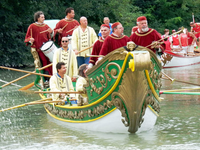 Antique Venetian Costumes Brenta River Historical Re-enactment Outdoors Parade Boats People River Water Parade