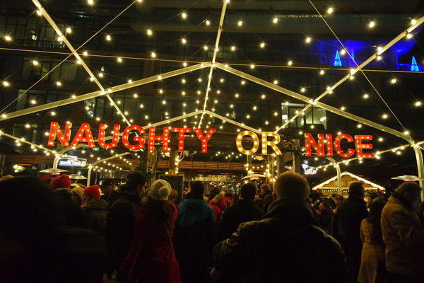 Naughty or Nice 😉Arts Culture And Entertainment City City Life City Street Distillery District Illuminated Large Group Of People Lights Men NAUGHTY Or NICE  Night Street Toronto Christmas Market The Street Photographer - 2016 EyeEm Awards Cities At Night The Following 43 Golden Moments Feel The Journey Beautifully Organized Art Is Everywhere Neighborhood Map