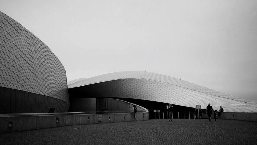 Curved EyeEm Best Shots Denmark Den Blå Planet Aqua Curve Sky Architecture Built Structure Building Exterior Copy Space Nature Clear Sky Day Outdoors Lifestyles Leisure Activity