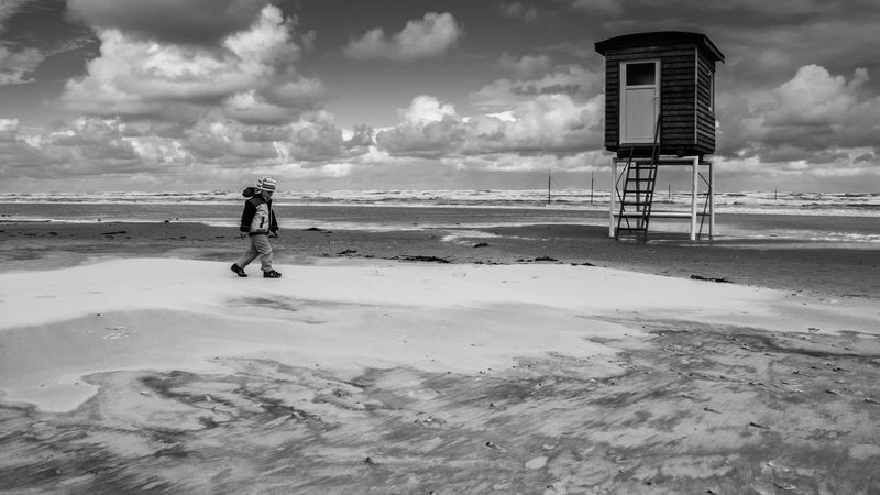 Beach Blackandwhite Blackandwhite Photography Child Cloud - Sky Clouds Day Dramatic Full Length Horizon Over Water Landscape Langeoog Nature Northsea One Person Outdoors People Real People Sand Sea Seascape Sky Water