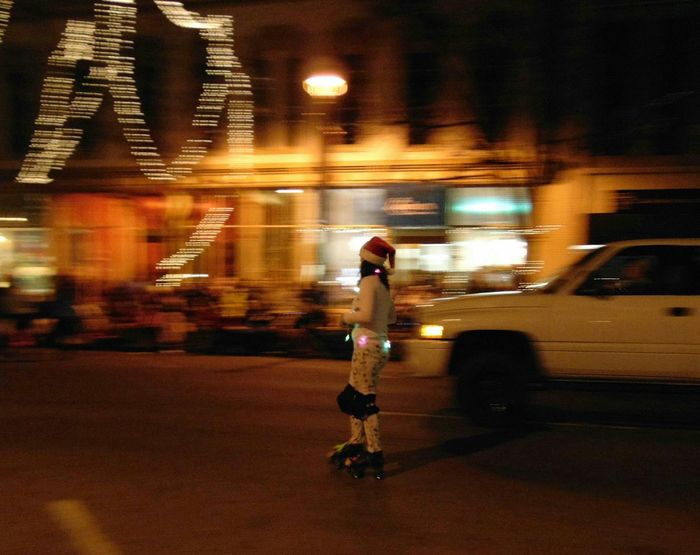 Flying by Motion Having Fun Taking Photos Enjoying Life Lights Glitch Hello World Nightphotography Showcase : December EyeEm Best Shots Night Night Lights Girl Woman People Rollerblading Selective Focus Showcase: December Capture The Moment Life In Motion Streetphoto_color The Culture Of The Holidays