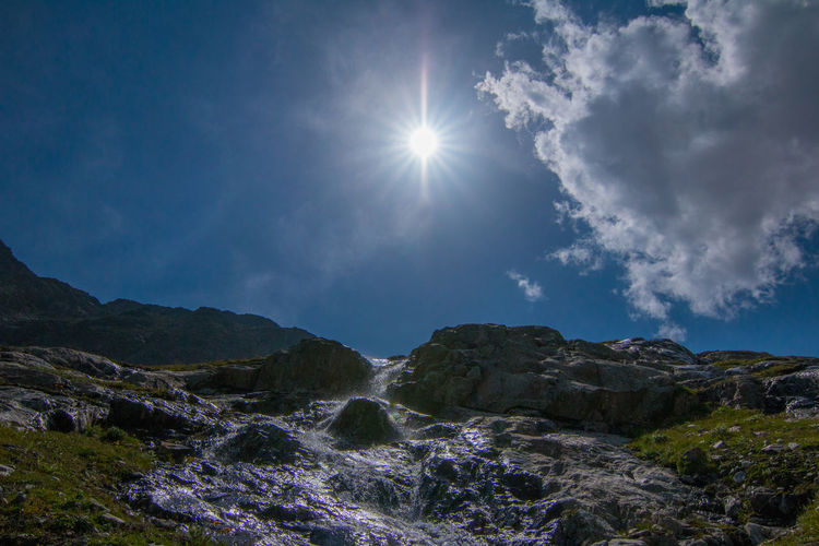 Low Angle View Of Stream Flowing On Mountain Against Sky