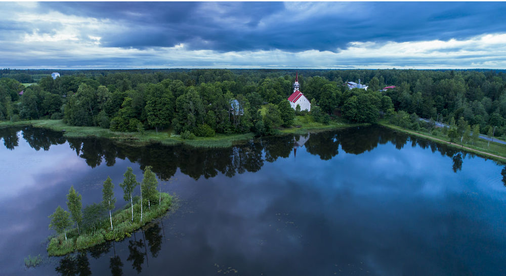 Church Dramatic Sky Drone  Estonia Aerial View Aero Cloud - Sky Clouds Day Lake Mood Nature Reflection Sky Tree Water